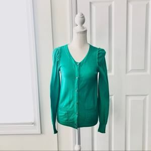 Marc By Marc Jacobs Green Puff Sleeve Cardigan S